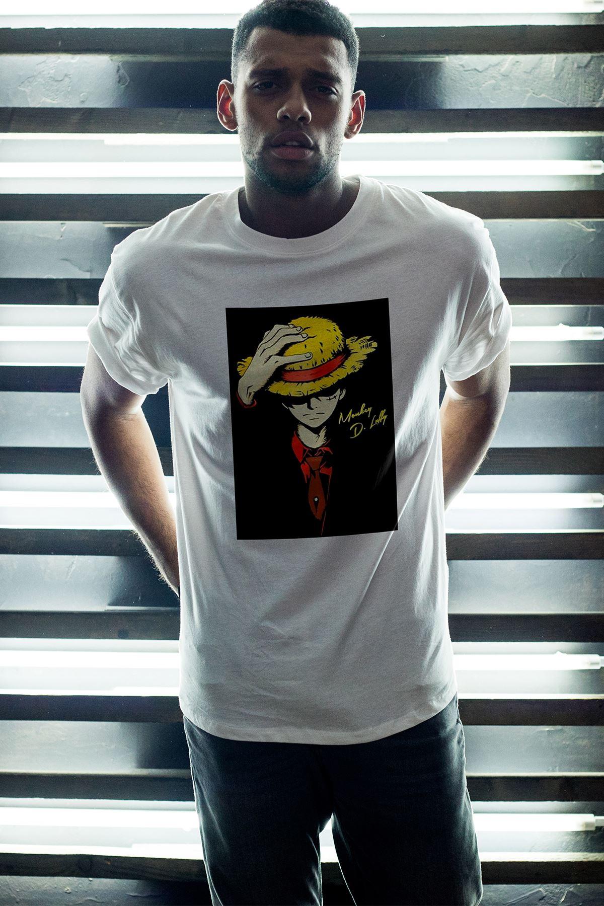 Anime Monkey Beyaz Erkek Oversize Tshirt - Tişört