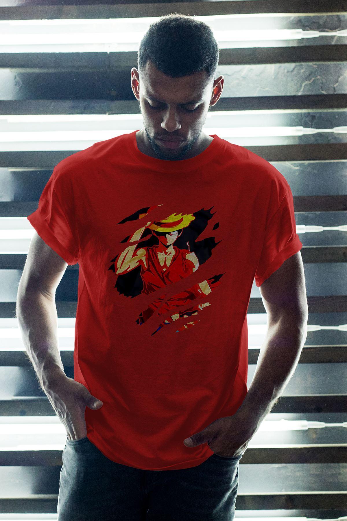 Anime Monkey 02 Kırmızı Erkek Oversize Tshirt - Tişört