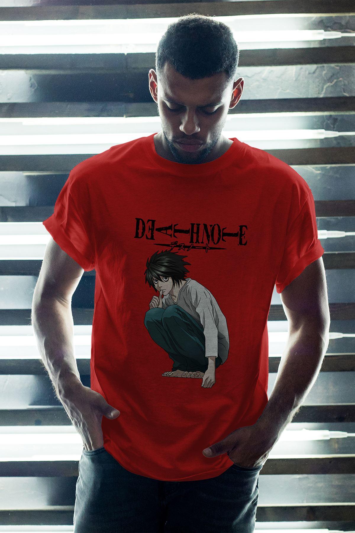 Anime Death Note 03 Kırmızı Erkek Oversize Tshirt - Tişört