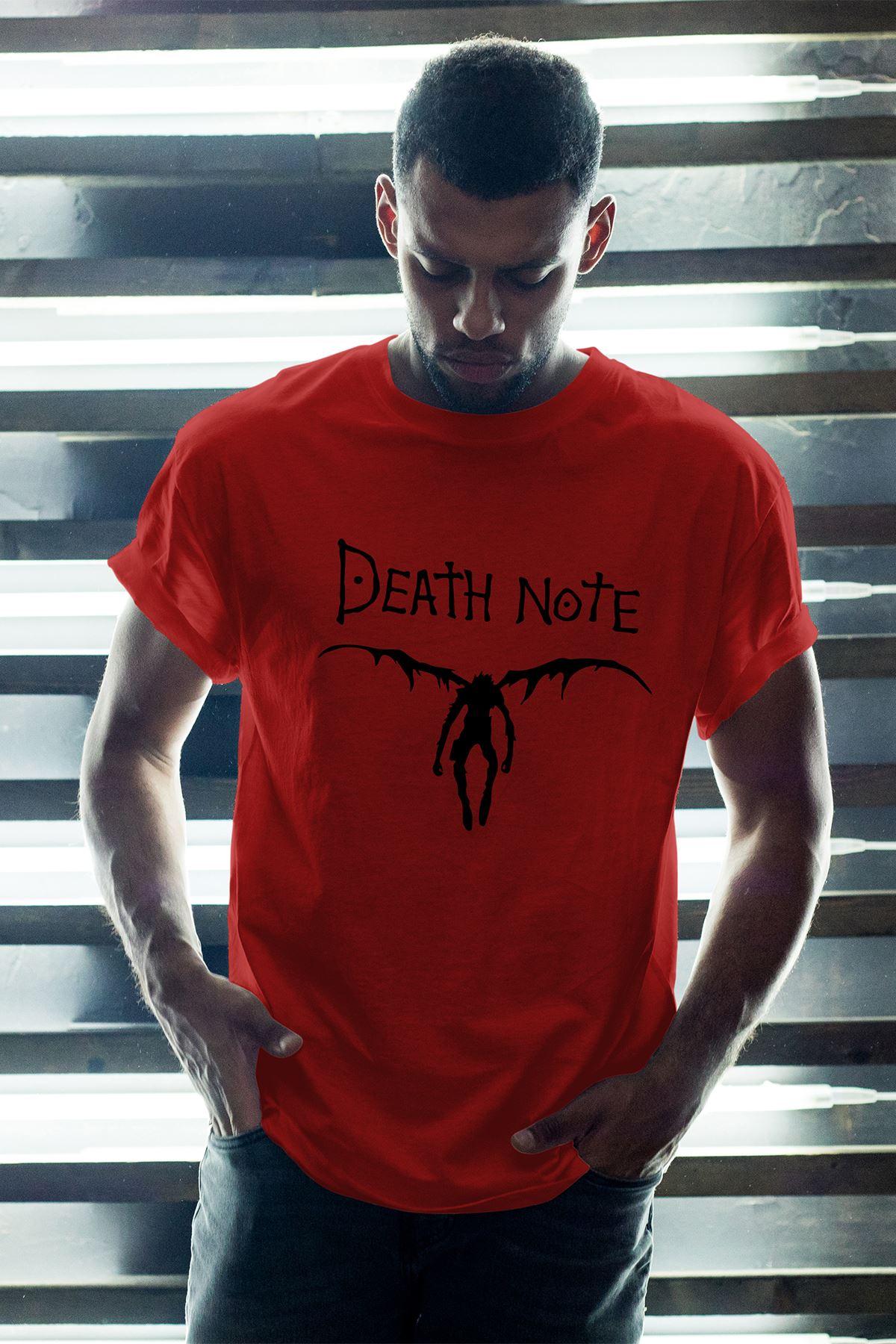 Anime Death Note 08 Kırmızı Erkek Oversize Tshirt - Tişört