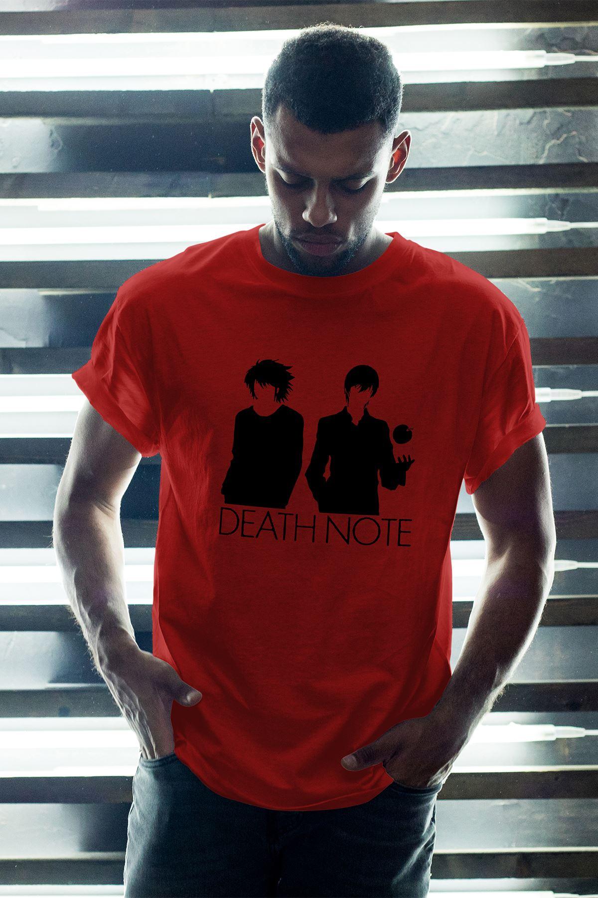 Anime Death Note 07 Kırmızı Erkek Oversize Tshirt - Tişört