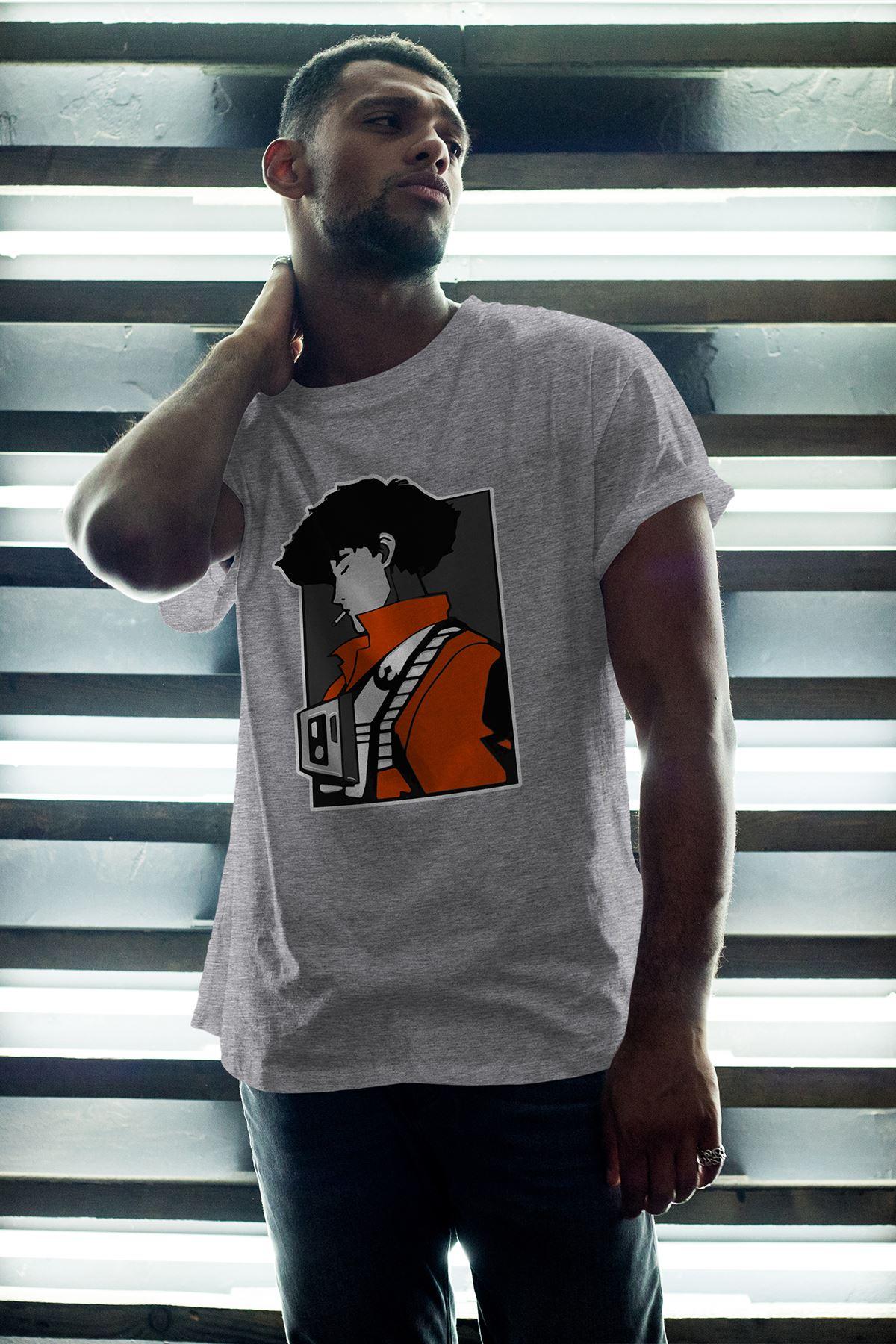 Anime Bebop Gri Erkek Oversize Tshirt - Tişört