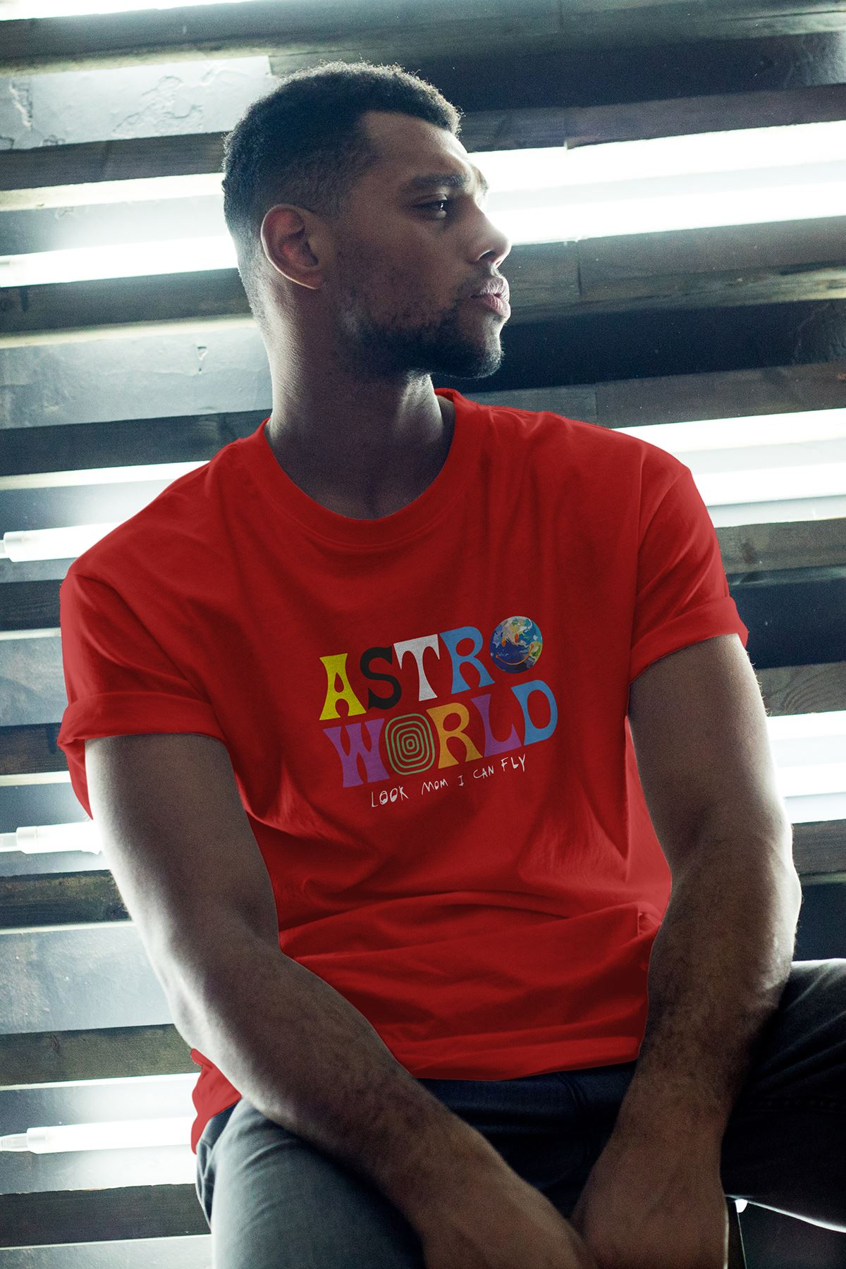 Astro World Kırmızı Erkek Oversize Tshirt - Tişört