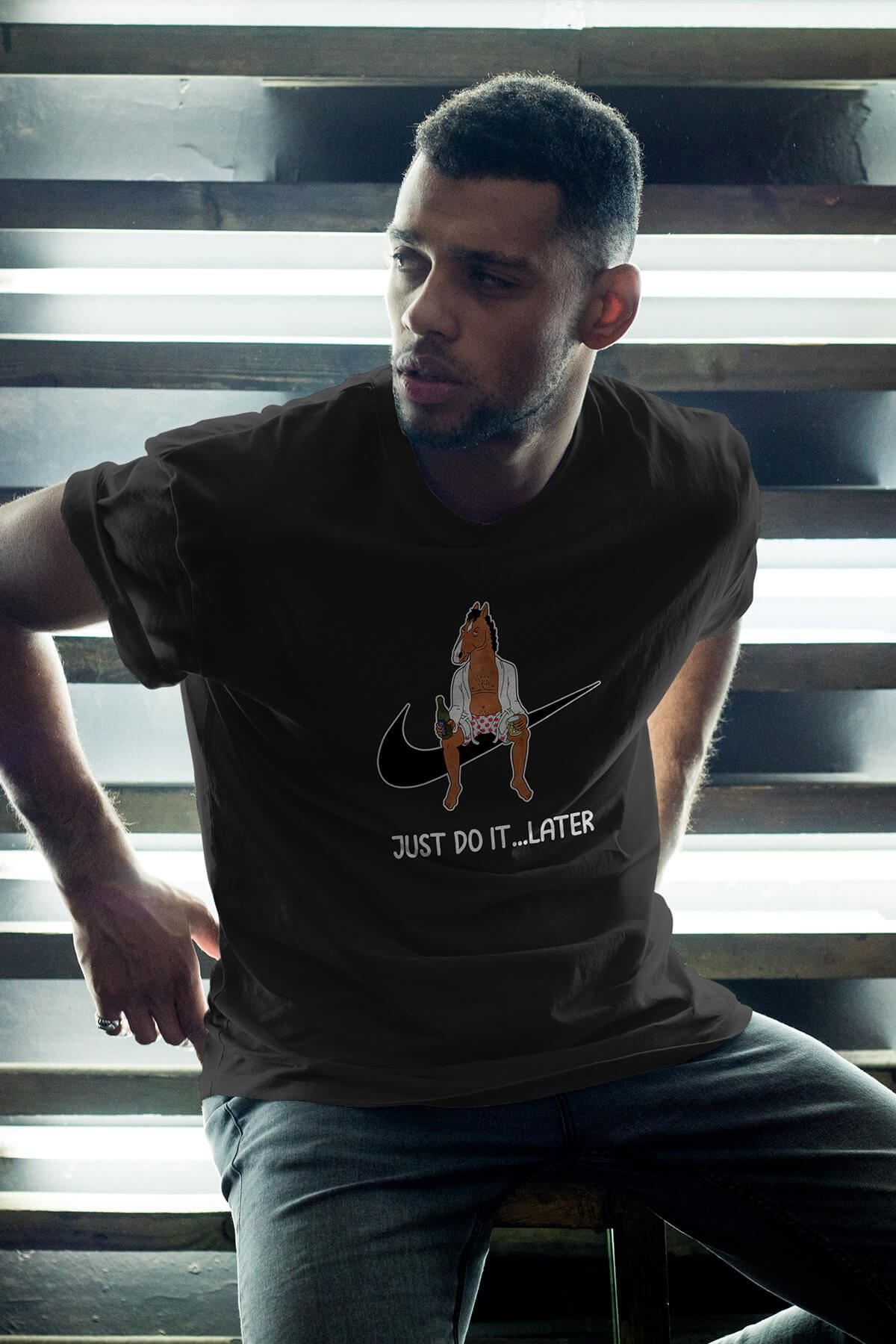 BoJack Siyah Erkek Oversize Tshirt - Tişört