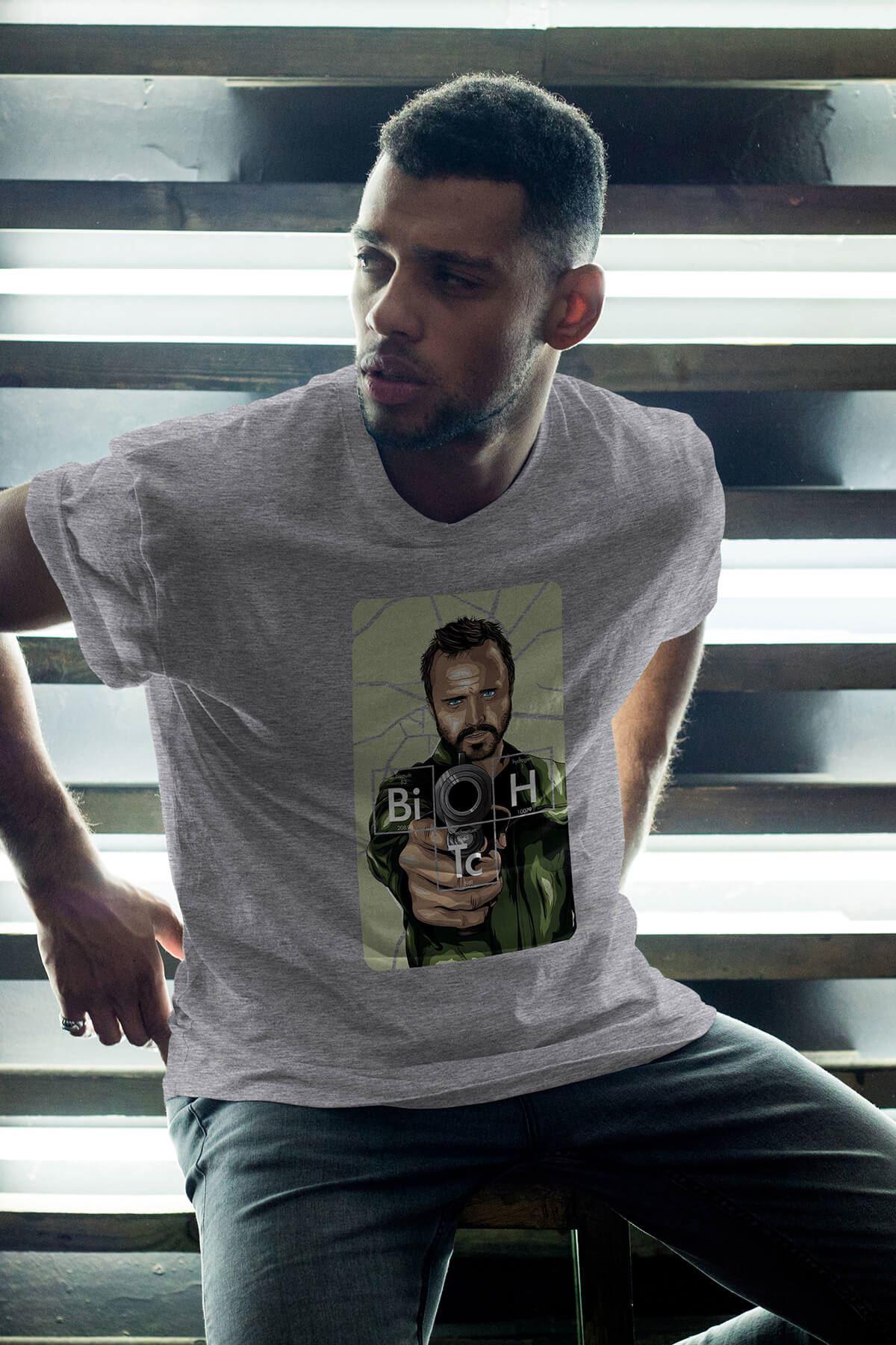 Breaking Bad Jesse Pinkman 17 Gri Erkek Oversize Tshirt - Tişört